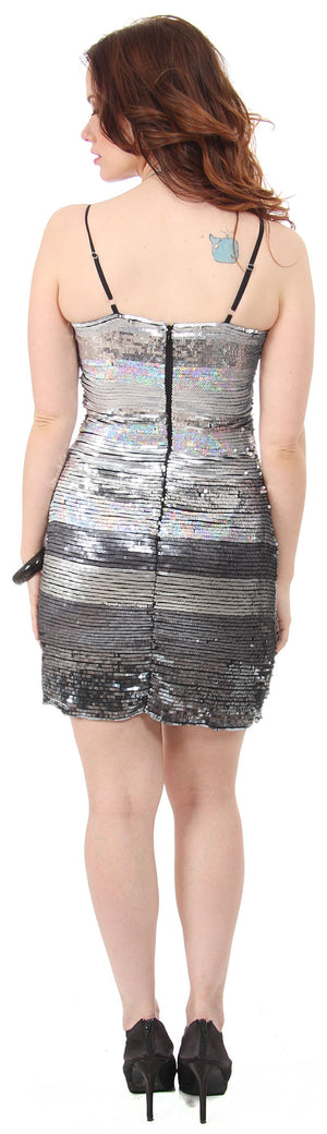 Back image of Horizontal Pattern Sequins Homecoming Party Dress