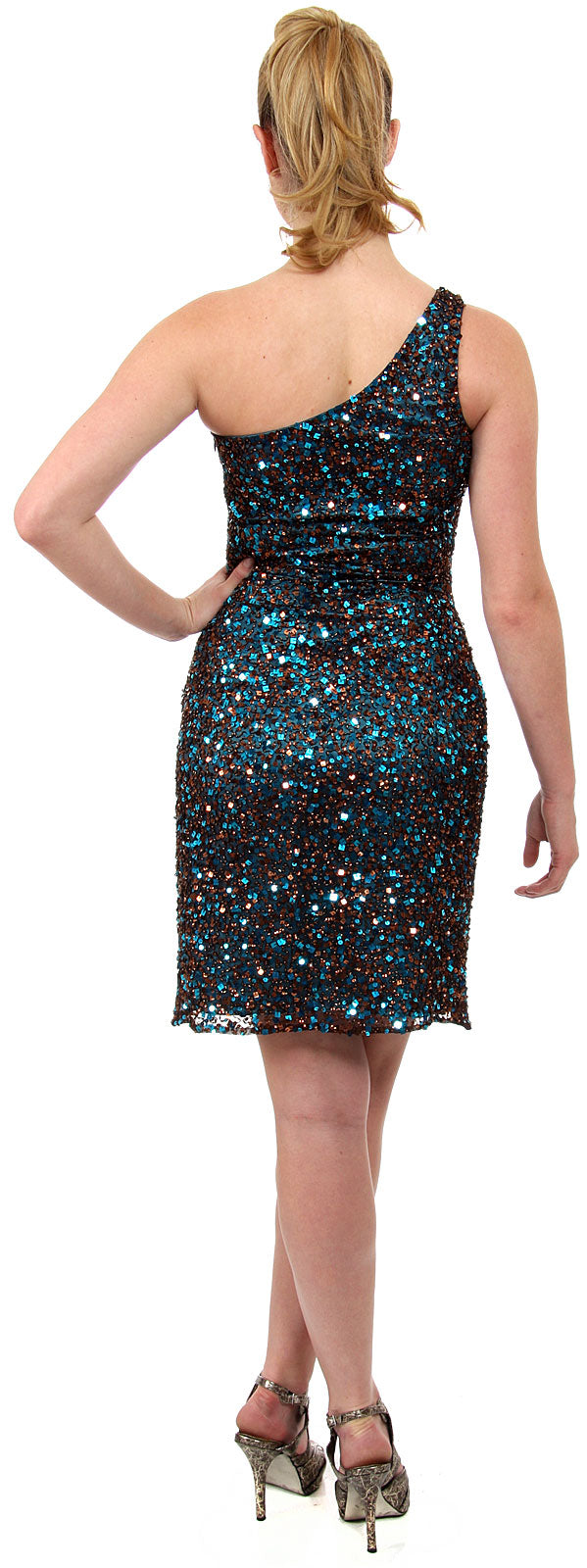 Image of Hand Beaded And Sequined One Shoulder Short Dress back in Brown/Turquoise