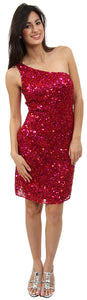 Main image of Hand Beaded And Sequined One Shoulder Short Dress