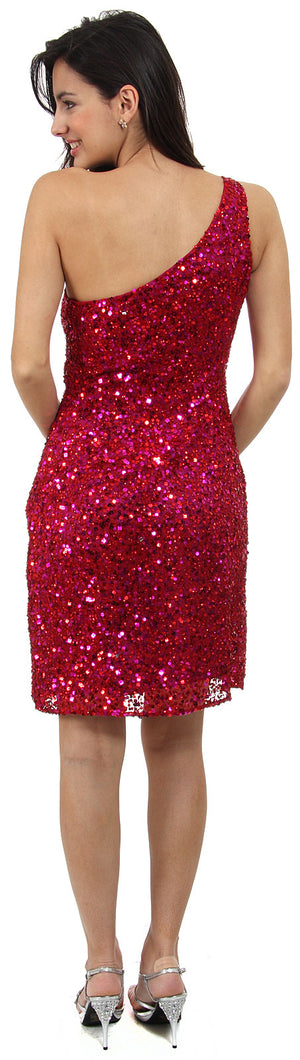 Back image of Hand Beaded And Sequined One Shoulder Short Dress