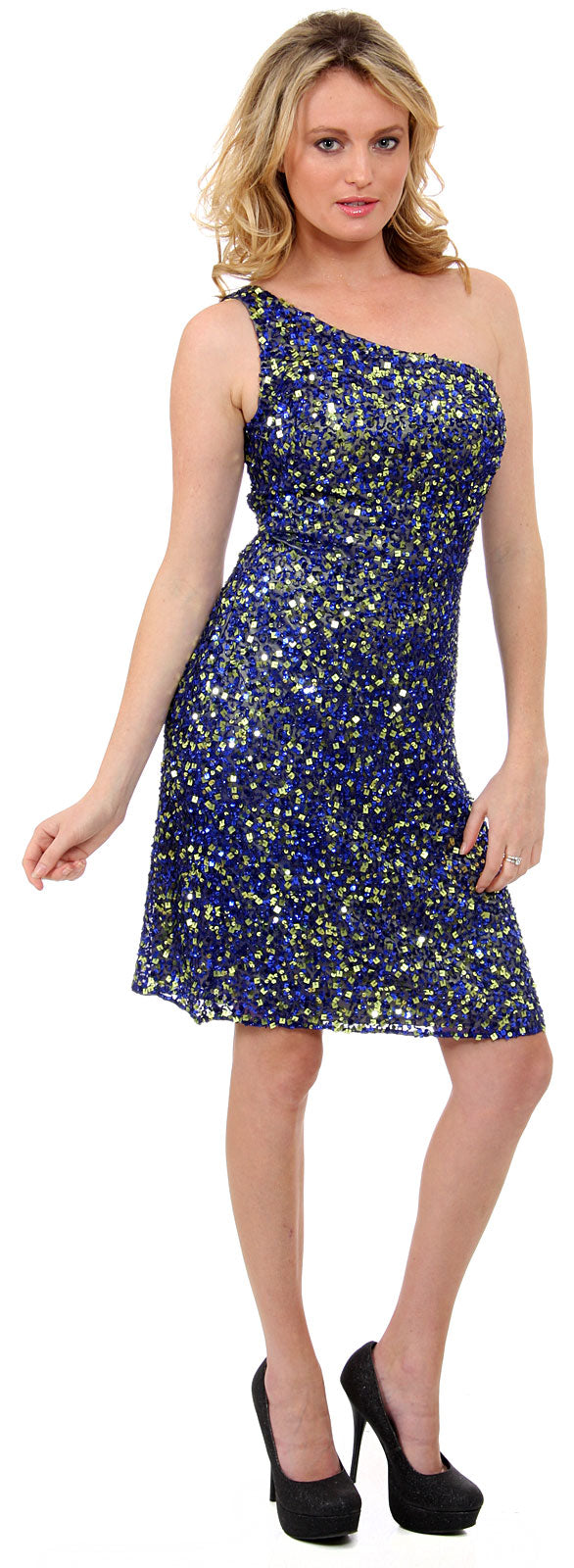 Image of Hand Beaded And Sequined One Shoulder Short Dress in Royal Blue/Yellow