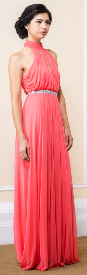 Main image of High Halter Neck Long Formal Bridesmaid Dress With Keyhole