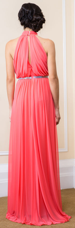 Back image of High Halter Neck Long Formal Bridesmaid Dress With Keyhole