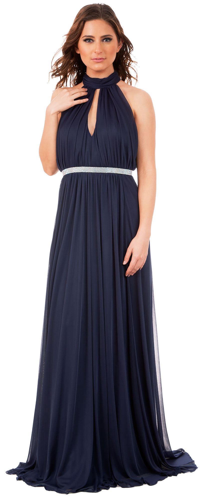 Image of High Halter Neck Long Formal Bridesmaid Dress With Keyhole in Navy