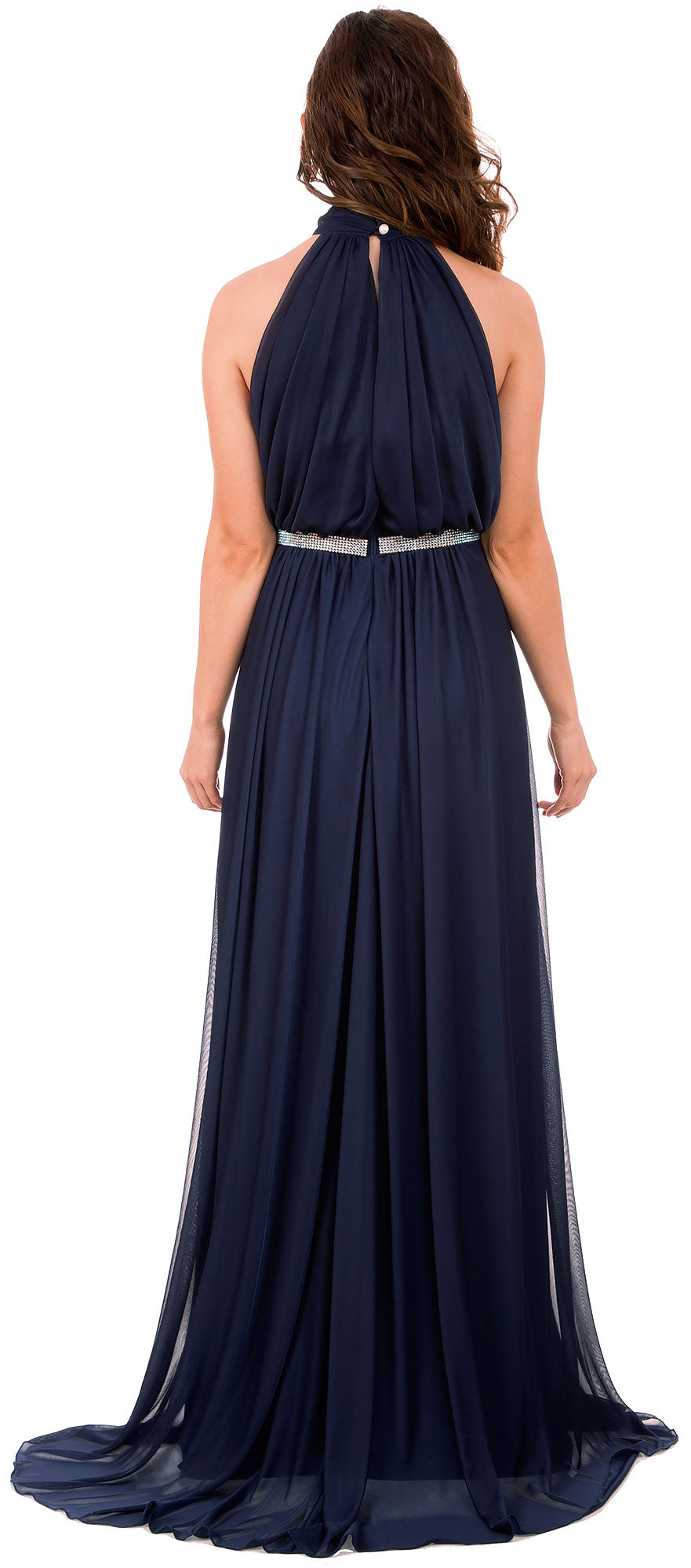 Image of High Halter Neck Long Formal Bridesmaid Dress With Keyhole back in Navy