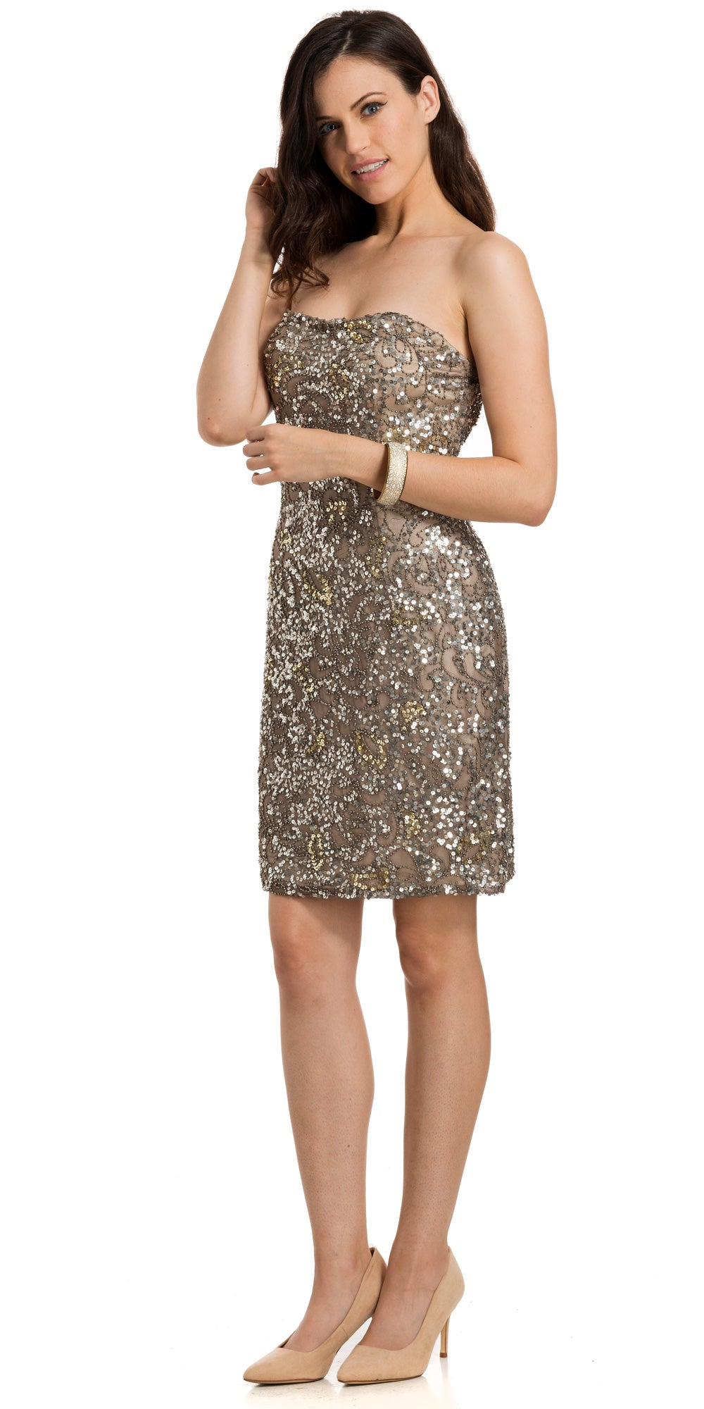 Main image of Strapless Short Prom Dress Fully Hand Beaded Sequins