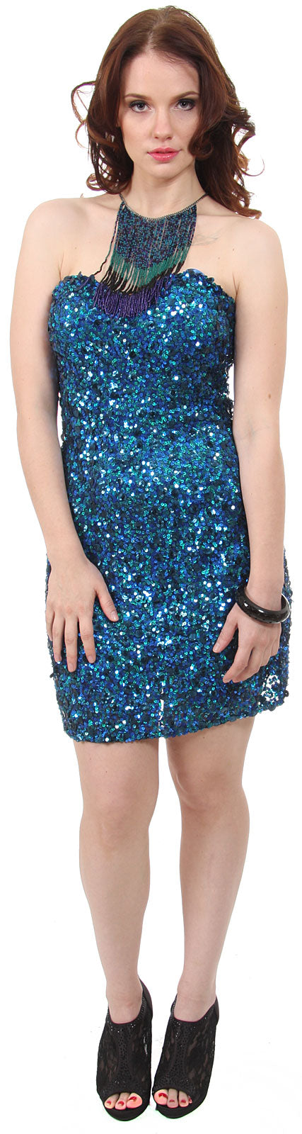 Main image of Strapless Sweetheart Neck Sequined Party Prom Dress