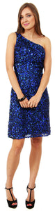 Main image of One Shoulder Short Party Dress With Textured Sequins