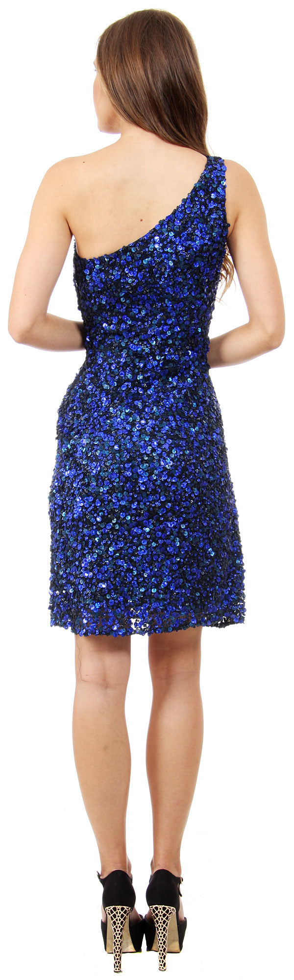 Back image of One Shoulder Short Party Dress With Textured Sequins