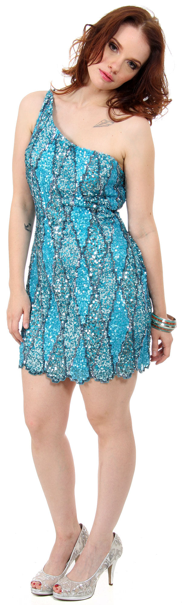 Image of One Shoulder Two Tone Dress With Asymetical Hemline in Turquoise
