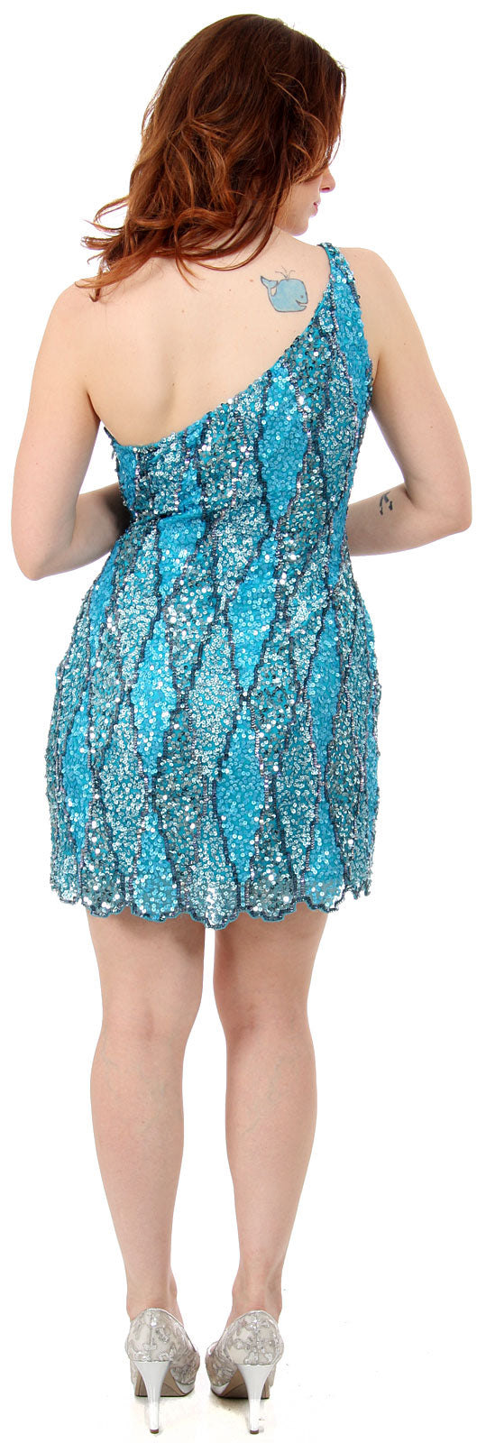 Image of One Shoulder Two Tone Dress With Asymetical Hemline back in Turquoise
