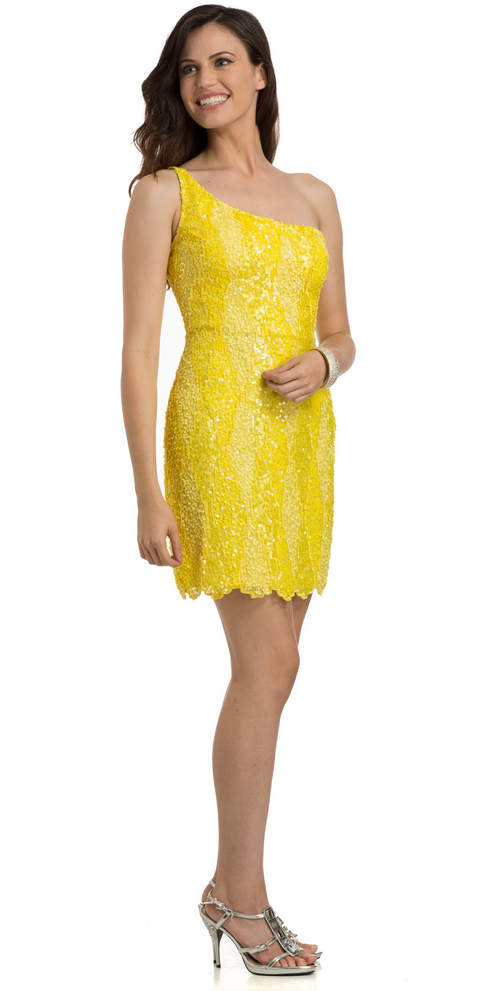 Main image of One Shoulder Two Tone Dress With Asymetical Hemline