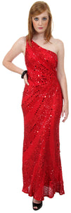 Main image of Single Shoulder Stripe Sequined Formal Evening Dress
