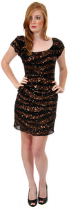 Main image of U-neck Short Sleeves Sequined Prom Cocktail Dress