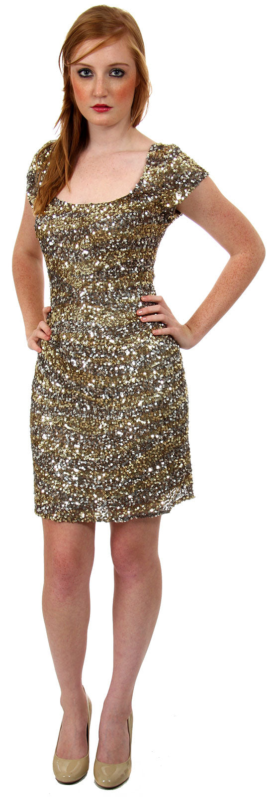 Image of U-neck Short Sleeves Sequined Prom Cocktail Dress in Bronze