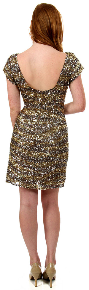 Back image of U-neck Short Sleeves Sequined Prom Cocktail Dress