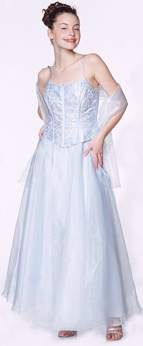 Image of A-line Spaghetti And Lace Formal Prom Dress in Baby Blue color