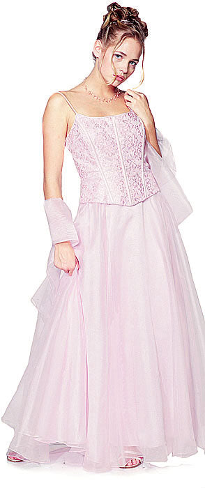Main image of A-line Spaghetti And Lace Formal Prom Dress