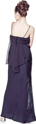 Back image of Valance Style Flared Long Formal Dress