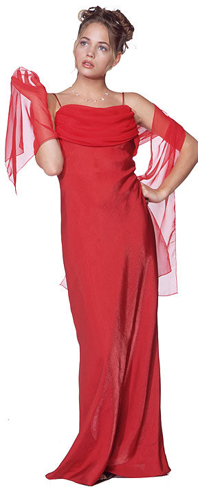 Image of Valance Style Flared Long Formal Dress in Red color