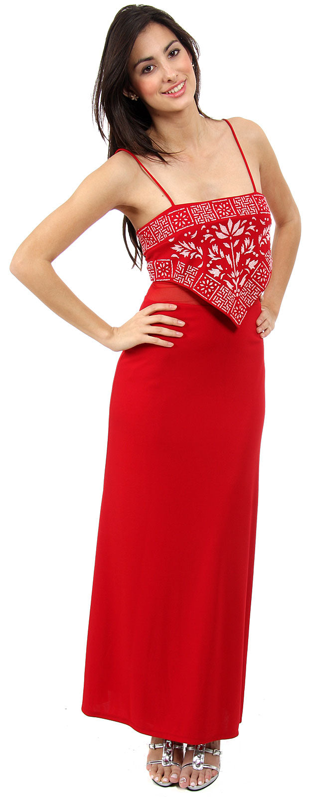 Main image of Spaghetti Strap Beaded Design Formal Dress