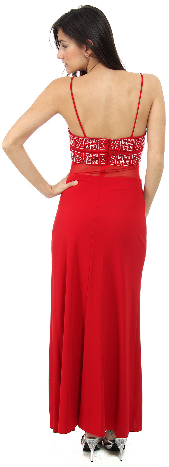 Back image of Spaghetti Strap Beaded Design Formal Dress