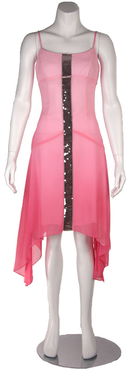 Image of Asymmetrical Shimmering Party Dress in Baby Pink