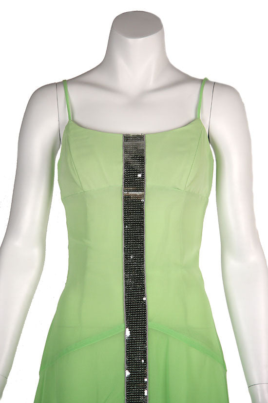 Image of Asymmetrical Shimmering Party Dress in Green