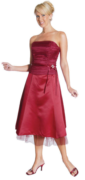 Image of Strapless Princess Cut Two Piece Formal Party Dress in Burgundy color