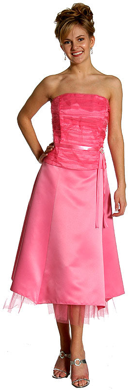 Main image of Strapless Princess Cut Two Piece Formal Party Dress