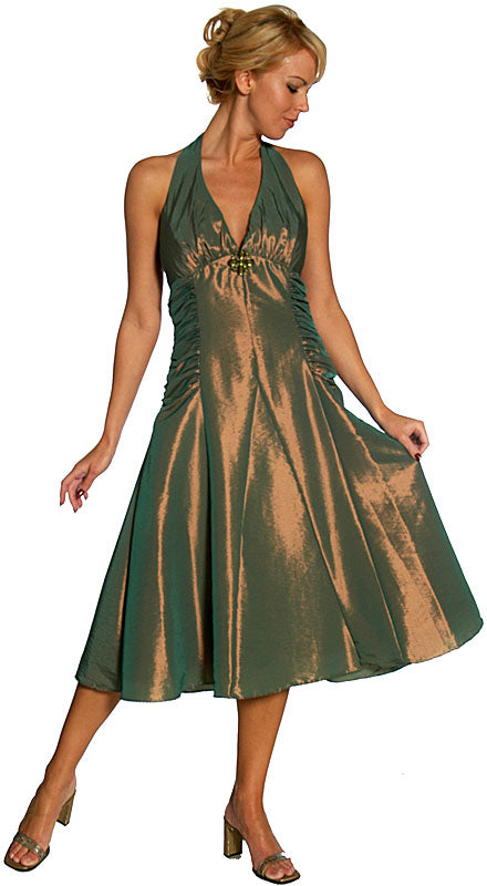 Main image of Halter Neck Taffeta Tea Length Party Dress