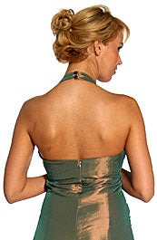 Back image of Halter Neck Taffeta Tea Length Party Dress