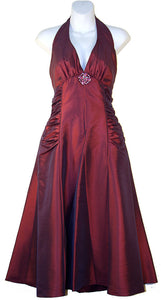 Image of Halter Neck Taffeta Tea Length Party Dress in Eggplant color