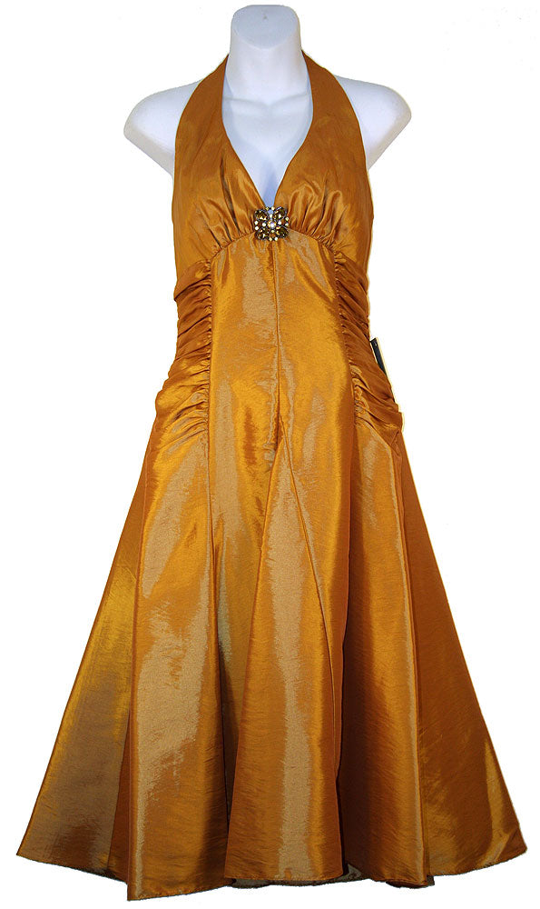 Image of Halter Neck Taffeta Tea Length Party Dress in Gold color