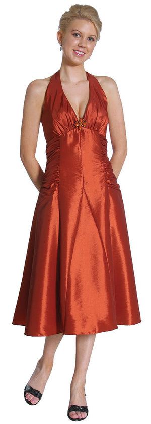 Image of Halter Neck Taffeta Tea Length Party Dress in Rust color
