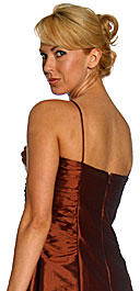 Back image of Spaghetti Straps Ruched Taffeta Short Party Dress