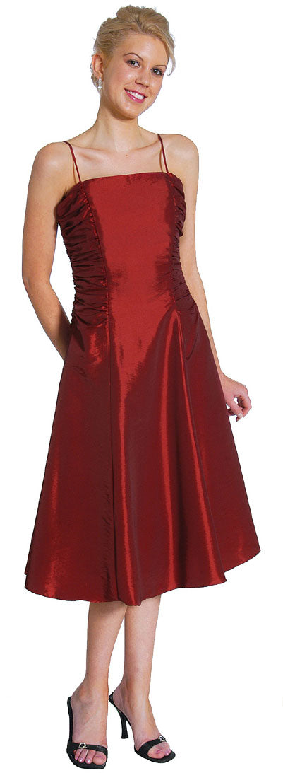 Image of Spaghetti Straps Ruched Taffeta Short Party Dress in Burgundy color