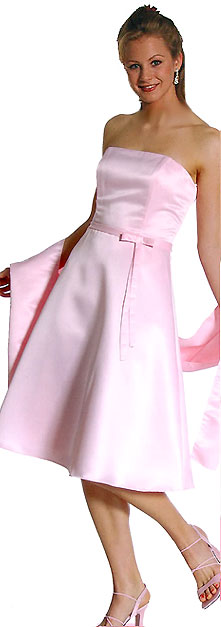 Image of Strapless Satin Short Evening Dress in Pink color