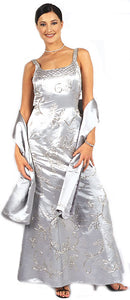 Main image of Beaded Formal Silver Prom Dress With Floral Accent