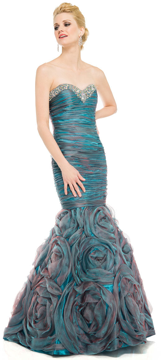 Main image of Two Tone Mermaid Style Shirred Strapless Prom Dress