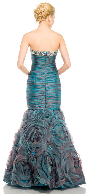 Back image of Two Tone Mermaid Style Shirred Strapless Prom Dress