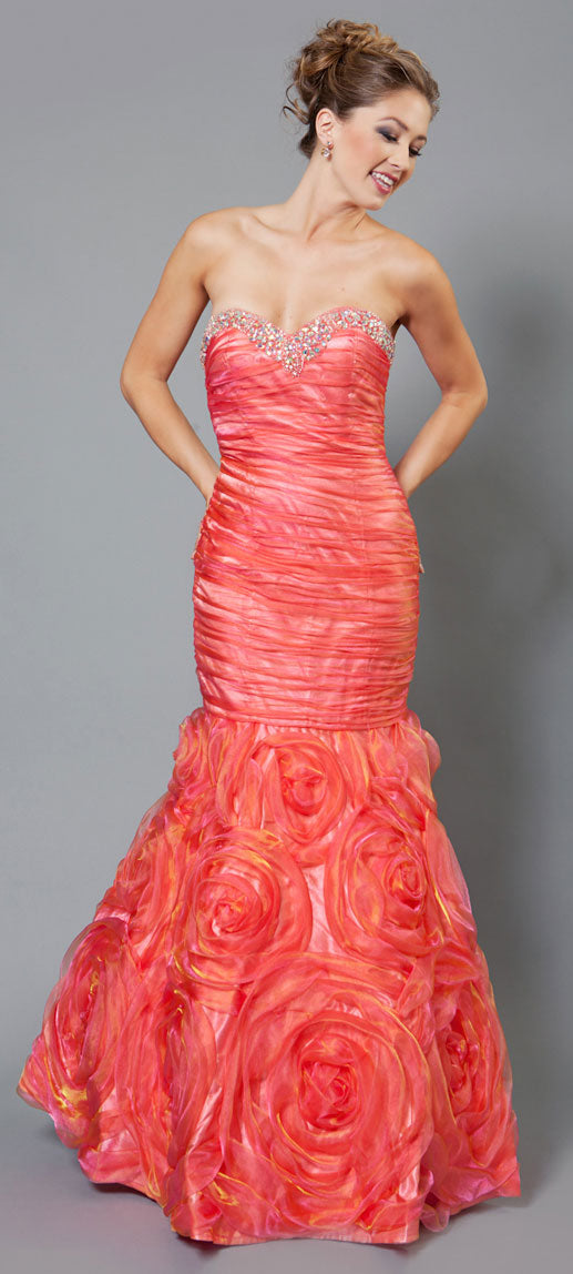 Image of Two Tone Mermaid Style Shirred Strapless Prom Dress  in Orange