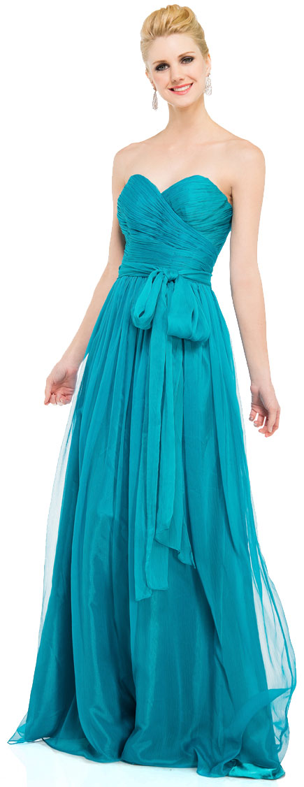 Main image of Strapless Sweetheart Neck Chiffon Long Formal Prom Dress