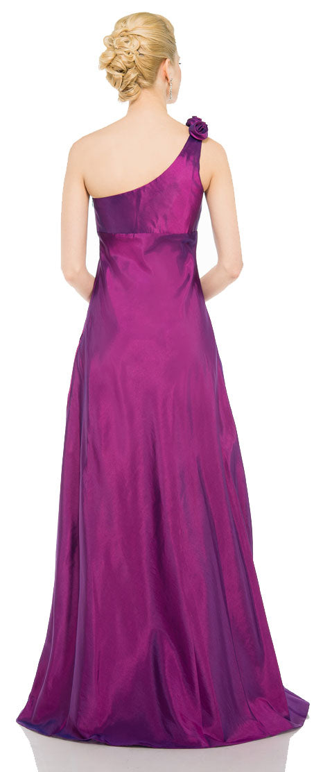 Back image of Single Shoulder Taffeta Full Length Formal Evening Gown