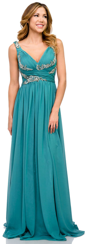 Image of Deep V-neck Ruched Floor Length Formal Prom Dress in Teal