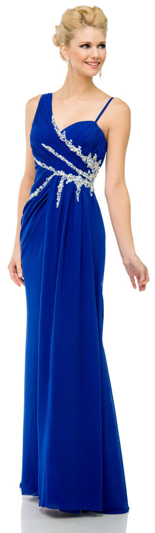 Main image of Pleated Long Prom Dress With Jewels & Matching Bolero Jacket