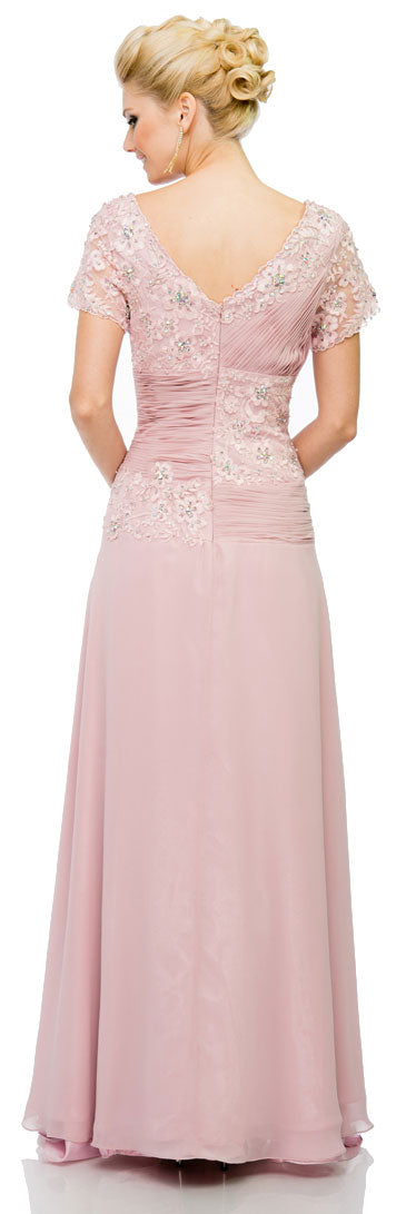 Back image of V-neck Short Sleeves Long Formal Mother Of The Bride Dress