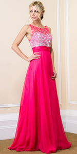 Main image of Jeweled Mesh Top Floor Length Formal Prom Dress