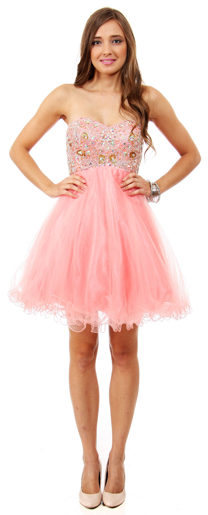 Main image of Strapless Beaded Bust Mesh Short Party Prom Dress