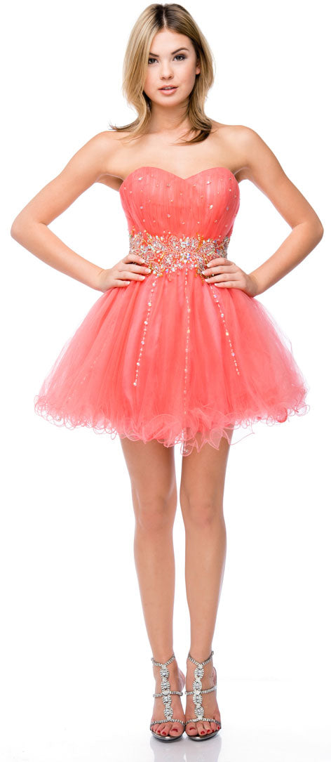 Main image of Strapless Beaded Waist Short Tulle Party Prom Dress